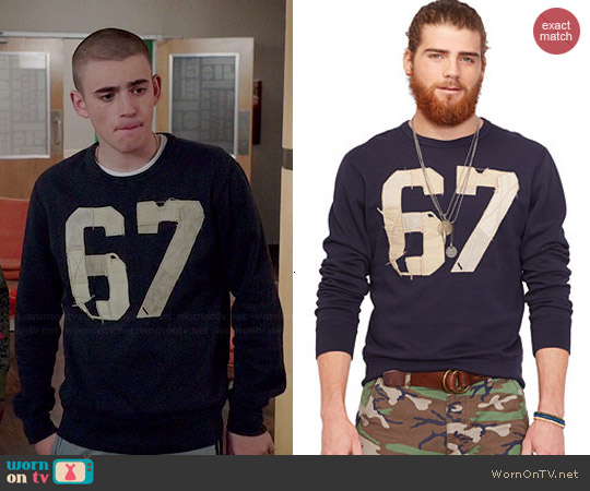Ralph Lauren Denim & Supply Varsity Crew Neck Pullover worn by Charlie Rowe on Red Band Society