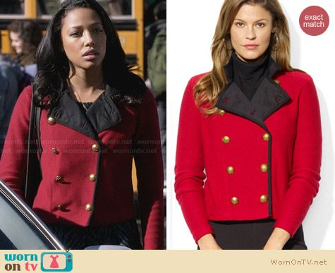Ralph Lauren Double Breasted Military Cardigan worn by Kylie Bunbury on Twisted