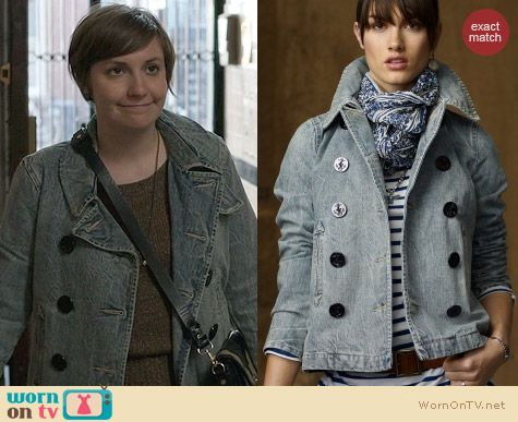 Ralph Lauren Faded Denim Pea Coat worn by Lena Dunham on Girls