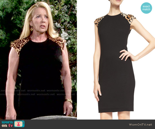 Ralph Lauren 'Farrah'  Sheath Dress with Leopard-Print Shoulders worn by Melody Thomas-Scott on The Young & the Restless