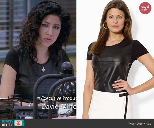 Ralph Lauren Faux Leather Front Tee worn by Stephanie Beatriz on Brooklyn Nine-Nine