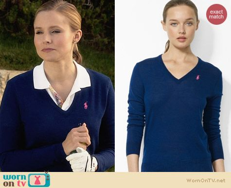 Ralph Lauren Golf Navy Merino Wool V-Neck Sweater worn by Kristen Bell on House of Lies