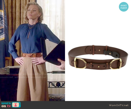 Ralph Lauren Horse Buckle Belt worn by Elizabeth North on Scandal