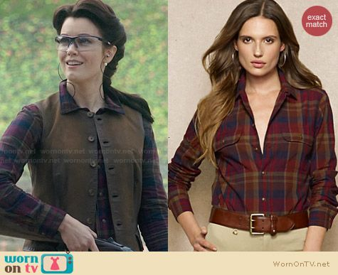 Ralph Lauren Plaid Camp Shirt worn by Bellamy Young on Scandal
