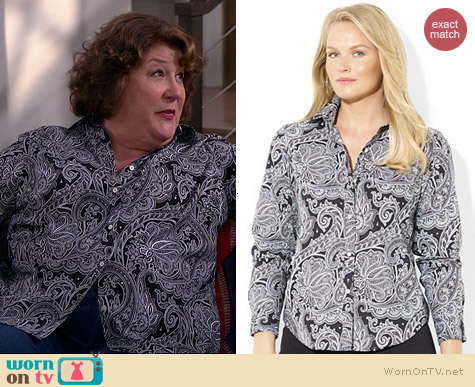 Ralph Lauren Plus Size Paisley Print Silk Shirt worn by Margo Martindale on The Millers