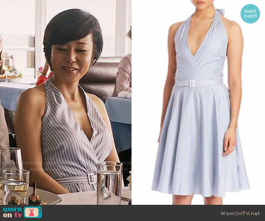 Polo Ralph Lauren Stripe Silk Fit & Flare Dress worn by Yunjin Kim on Mistresses
