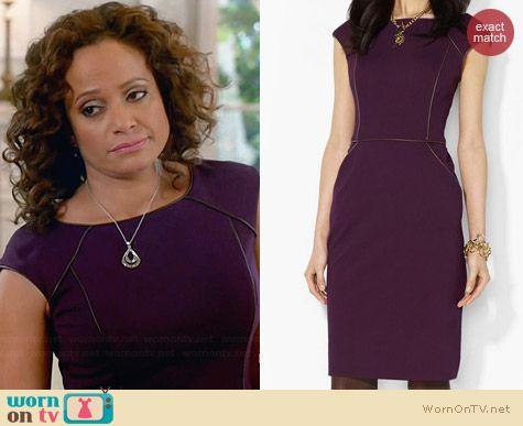 Ralph Lauren Purple Cap Sleeve Dress worn by Judy Reyes on Devious Maids