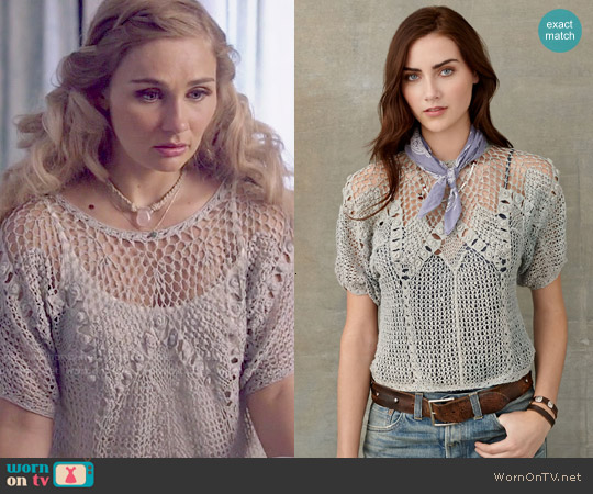 RRL Crocheted Linen Pullover worn by Clare Bowen on Nashville