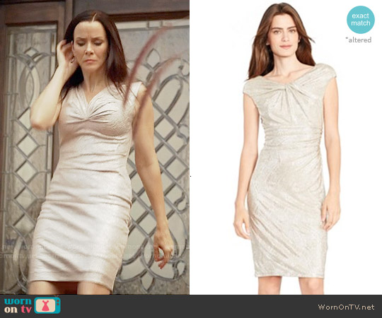 Lauren Ralph Lauren Ruched Metallic Sheath Dress worn by Annie Wersching on The Vampire Diaries