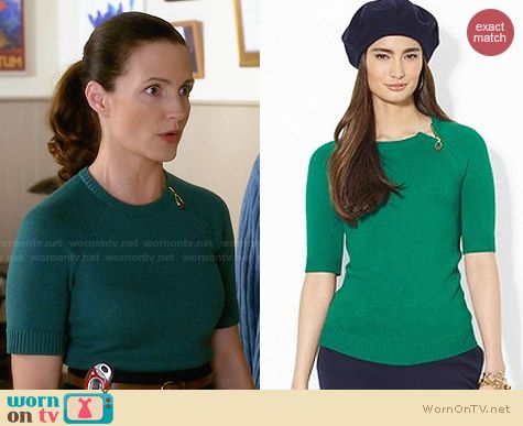Ralph Lauren Green Shoulder Zip Sweater worn Kristin Davis on Bad Teacher