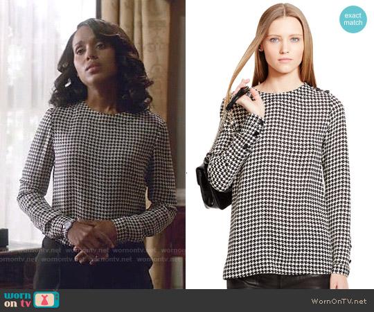 Ralph Lauren Black Label Silk Abbot Blouse worn by Kerry Washington on Scandal