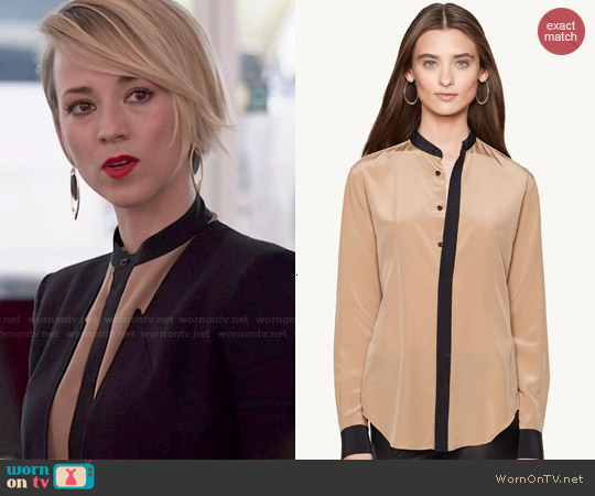 Ralph Lauren Silk Alfia Shirt worn by Karine Vanasse on Revenge
