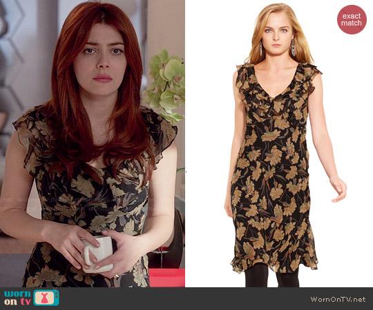 Ralph Lauren Silk Floral Ruffled Dress worn by Elena Satine on Revenge