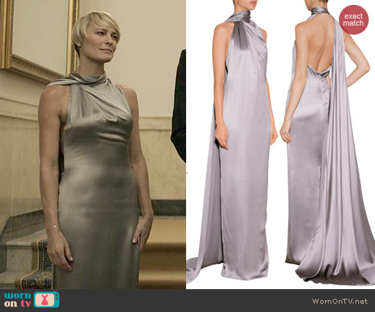 Ralph Lauren Silk Valentina Gown worn by Robin Wright on House of Cards