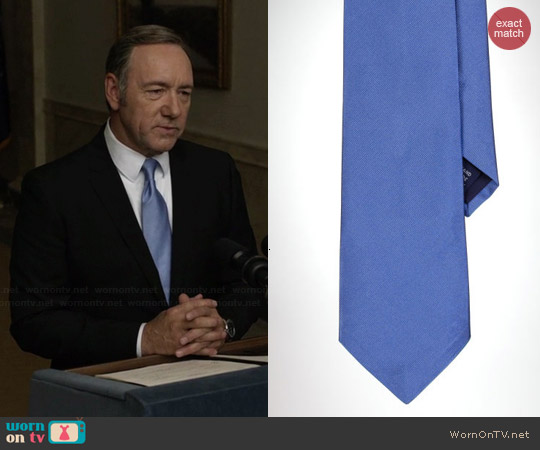 Ralph Lauren Solid Repp Tie in Blue worn by Kevin Spacey on House of Cards