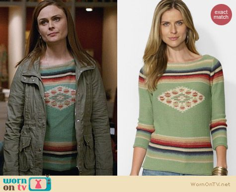 Lauren Ralph Lauren Southwestern Sweater worn by Emily Deschanel on Bones