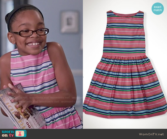 Ralph Lauren Striped Cotton Dress in Pink worn by Marsai Martin on Blackish