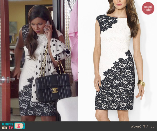 Ralph Lauren Two-Tone Lace Dress worn by Mindy Kaling on The Mindy Project