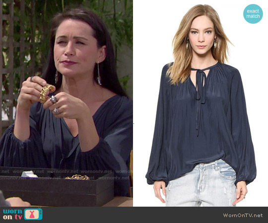 Ramy Brook Paris Blouse worn by Rena Sofer on The Bold & the Beautiful