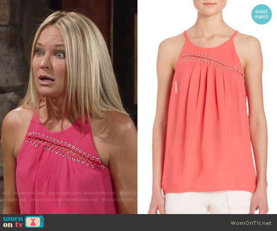 Ramy Brook Zia Top in Guava worn by Sharon Case on The Young & the Restless