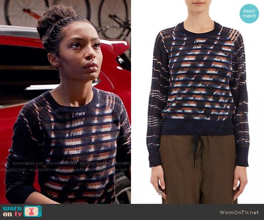 Raquel Allegra Unraveled-Knit Stripe Sweater worn by Yara Shahidi on Blackish