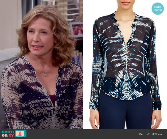 Raquel Allegra Chiffon Henley Blouse worn by Nancy Travis on Last Man Standing