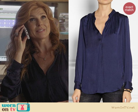 Raquel Allegra Crinkle Effect Satin Blouse worn by Connie Britton on Nashville