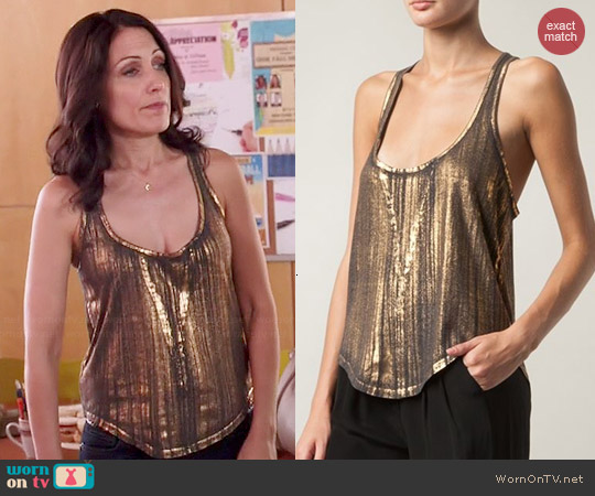 Raquel Allegra Gold Tank Top worn by Lisa Edelstein on GG2D