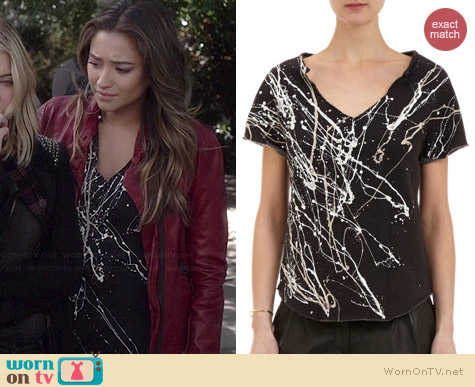 Raquel Allegra Paint Splattered Sweatshirt worn by Shay Mitchell on PLL