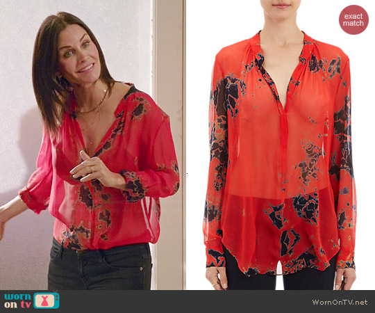 Raquel Allegra Tie Dye Blouse worn by Courtney Cox on Cougar Town