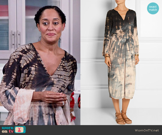 Raquel Allegra Tie Dye Crinkled Silk Crepe Midi Dress worn by Tracee Ellis Ross on Blackish