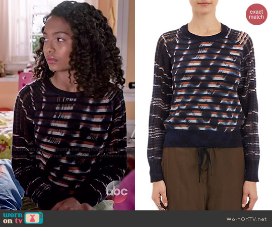 Raquel Allegra Unraveled-Knit Stripe Sweater worn by Yara Shahidi on Blackish