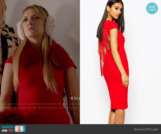 Rare London Bodycon Dress With Fringe Back worn by Billie Lourd on Scream Queens
