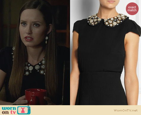 Ravenswood Fashion: Alice + Olivia Mary Embellished Collar Top worn by Merrit Patterson