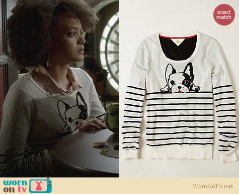 Fashion of Ravenswood: Anthropologie Top Dog Pullver worn by Britne Oldford