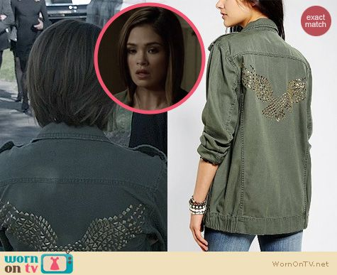 Fashion of Ravenswood: BDG Eagle Studded Surplus Jacket worn by Nicole Anderson