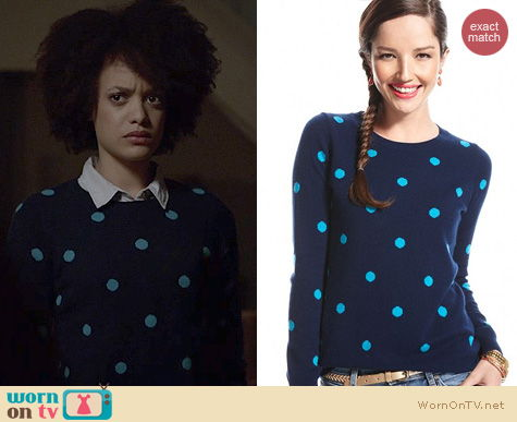 Ravenswood Fashion: Charter Club Polka Dot Sweater worn by Britne Oldford