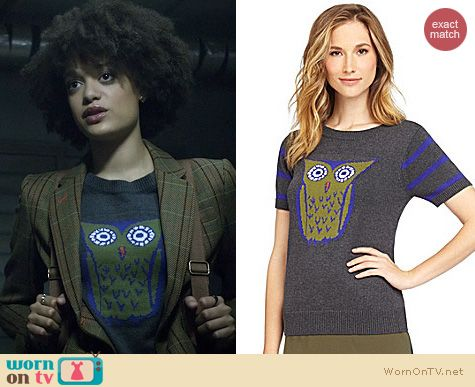 Fashion of Ravenswood: Cremieux Sheila Owl Sweater worn by Britne Oldford