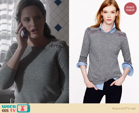Fashion of Ravenswood: J. Crew Jeweled Shoulders Sweater worn by Merritt Patterson