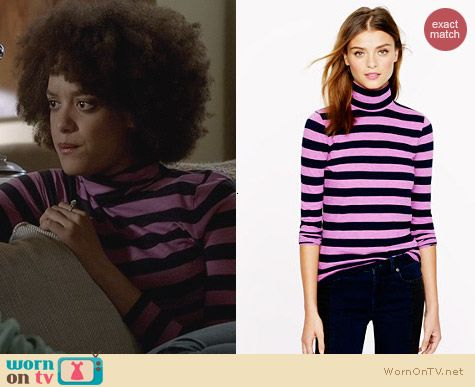 Fashion of Ravenswood: J. Crew Tissue Turtleneck Tee in Neon Stripe worn by Britne Oldford