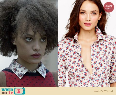 Ravenswood Fashion: J. Crew Papaya Paisley shirt worn by Britne Oldford