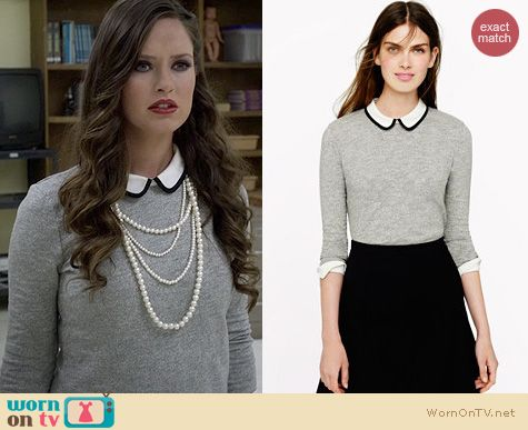 Ravenswood Fashion: J. Crew Tipped Silk Collar Top worn by Merritt Patterson