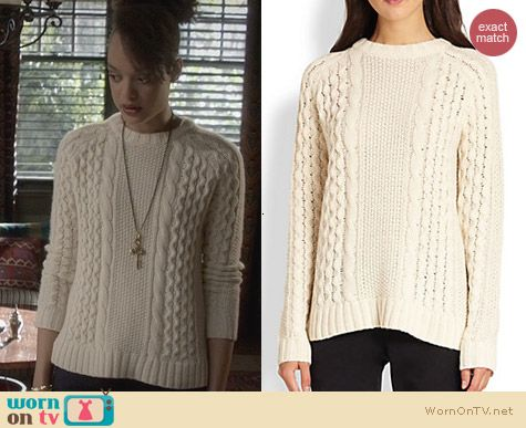 Fashion of Ravenswood: Theory Innia Aria Cable Sweater worn by Britne Oldford
