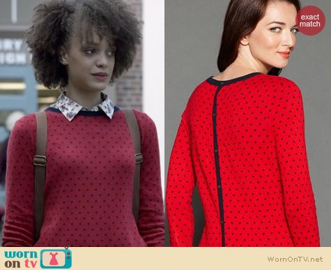 Ravenswood Fashion: Tommy Hilfiger Polka Dot Button Back Sweater worn by Britne Oldford
