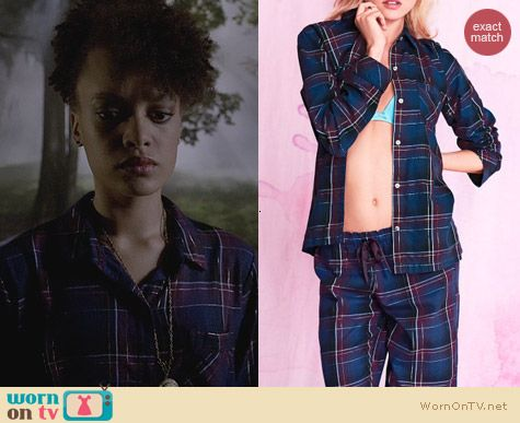 Ravenswood Fashion: Victoria's Secret Navy Metallic Plaid Dreamer Flannel Pajamas worn by Britne Oldford