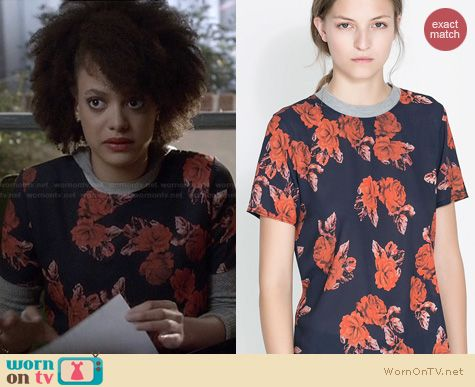 Ravenswood Fashion: Zara Rose Print Blouse worn by Britne Oldford