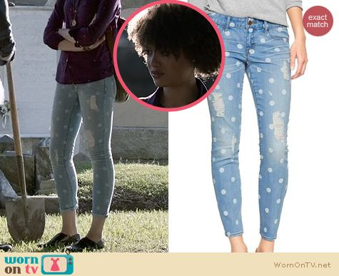 Ravenswood Style: Gap 1969 Deconstructed Polka Dot Jeans worn by Britne Oldford