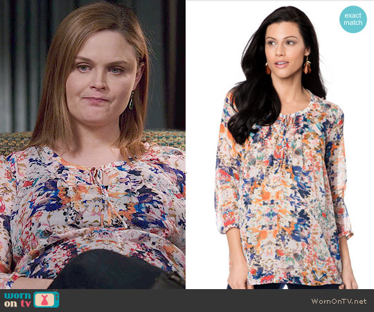 Rebecca Minkoff 3/4 Sleeve Maternity Blouse worn by Emily Deschanel on Bones