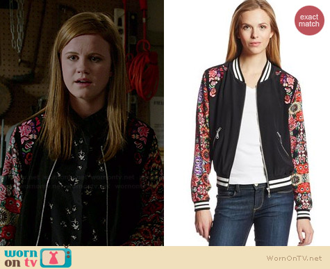 Rebecca Minkoff Alma Floral Bomber Jacket worn by Mackenzie Lintz on Under the Dome