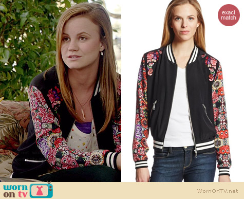 Rebecca Minkoff Alma Printed Bomber Jacket worn by Mackenzie Lintz on Under the Dome